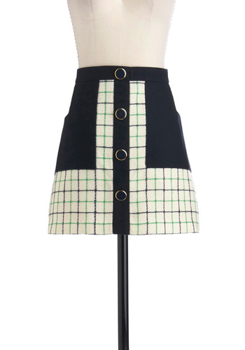 Lauren Moffatt Say You Willow Skirt by Lauren Moffatt - Short, Cream, Green, Blue, Buttons, Pockets, A-line, Work, Casual, 90s