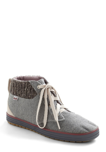 Never Felt So Stylish Sneaker by Keds - Grey, Flat, Suede, Solid, Knitted, Lace Up, Casual, Fall