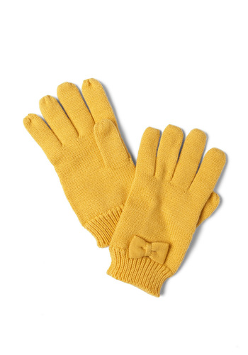 Colder Than You Bow Gloves in Sunshine by Tulle Clothing - Yellow, Solid, Bows, Knitted, Winter