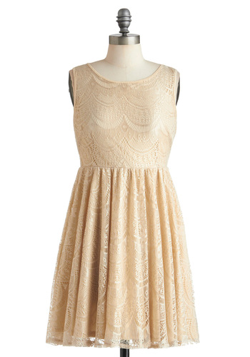 Beige of Honor Dress - Mid-length, Cream, Lace, Party, A-line, Sleeveless, Solid, Backless, Cocktail, Daytime Party, Tis the Season Sale, Graduation, Formal, Wedding, Bridesmaid, Bride