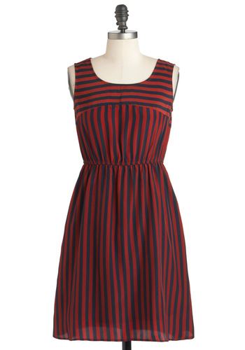 Casual in the City Dress - Mid-length, Red, Blue, Stripes, Casual, A-line, Sleeveless, Fall, Nautical, Steampunk