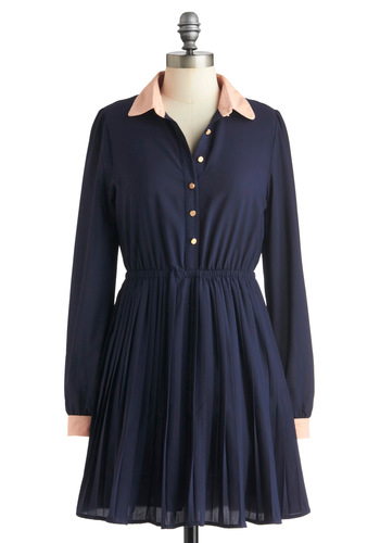 Special Addition Dress - Blue, Pink, Solid, Buttons, Shirt Dress, Long Sleeve, Fall, Short, Casual, Menswear Inspired, Button Down, Collared
