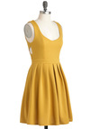 Amber Champion Dress - Mid-length, Yellow, Cutout, Exposed zipper, Casual, A-line, Tank top (2 thick straps), Solid, Fit & Flare