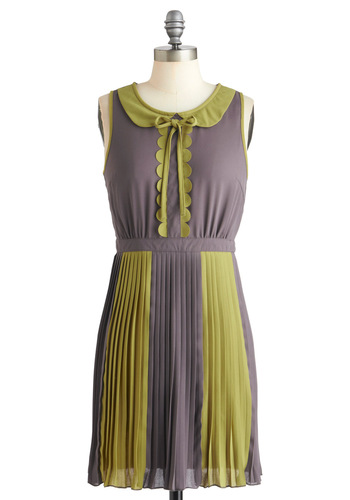 Love Boats Dress - Short, Green, Peter Pan Collar, Pleats, Scallops, Sleeveless, Grey, Party, Shift, Sheer, Collared