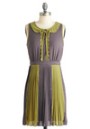 Love Boats Dress - Short, Green, Peter Pan Collar, Pleats, Scallops, Sleeveless, Grey, Party, Sheath / Shift, Sheer, Collared