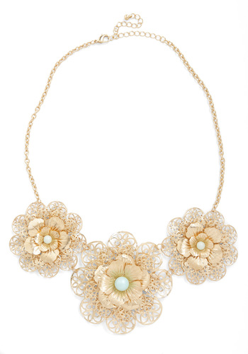 In Pearl Bloom Necklace - Gold, Green, Solid, Flower, Pearls, Party, Luxe, Statement, Cocktail