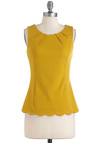 Less is Demure Top - Yellow, Solid, Scallops, Work, Vintage Inspired, Sleeveless, Cotton, Mid-length
