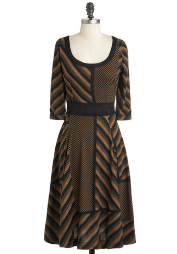 Just Us in Brussels Dress - Multi, Brown, Black, Grey, Stripes, Casual, 3/4 Sleeve, Fall, Long, Work, A-line, Scoop