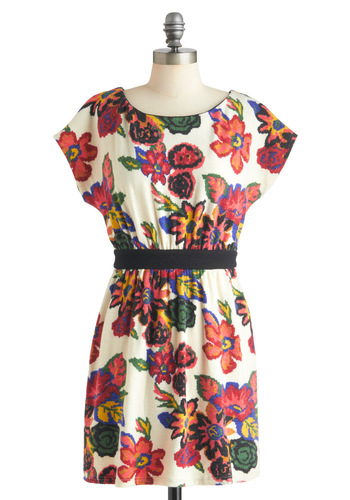 Grow with the Flow Dress - Multi, Floral, Casual, Short, Shift, Short Sleeves
