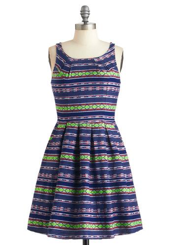 Neighborhood Fair Dress in Shadyside - Blue, Multi, Print, Casual, A-line, Sleeveless, Fall, Mid-length, Exposed zipper, Pockets, Neon, Cotton, Fit & Flare, Summer