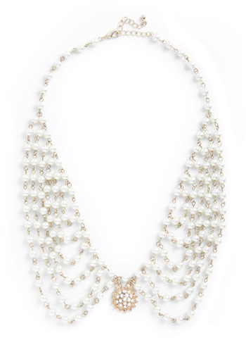 The New Pearl Necklace - White, Gold, Solid, Pearls, Wedding, Party, Vintage Inspired, Luxe, Statement, Cocktail, Holiday Party