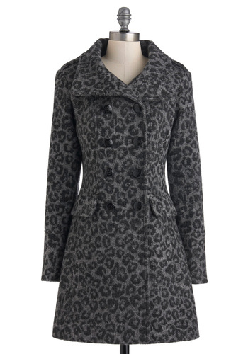 Take Your Piccadilly Coat - Grey, Animal Print, Buttons, Pockets, Long Sleeve, Long, Black, 3, Epaulets, Winter, Double Breasted