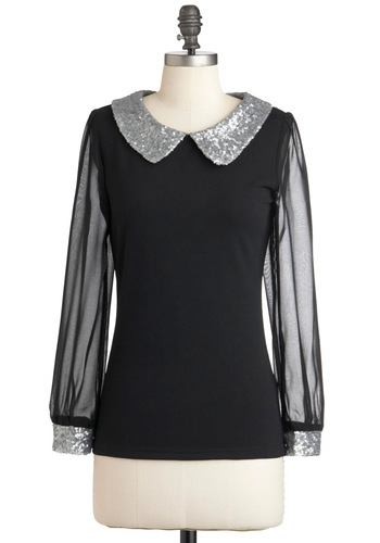 Token of Reflection Top - Black, Silver, Solid, Sequins, Party, Luxe, Long Sleeve, Mid-length, Glitter, Sheer, Collared, Work, Holiday Party