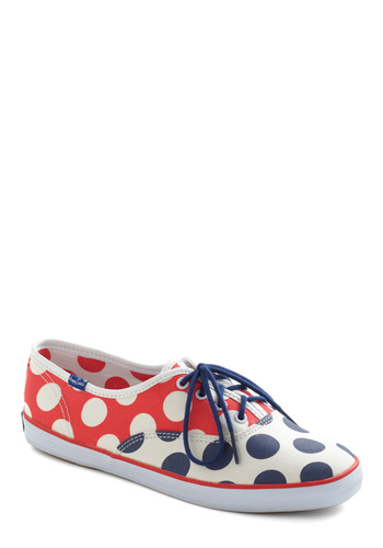 Polka Dot Cruise Sneaker by Keds - Flat, Polka Dots, Lace Up, Multi, Red, Blue, White
