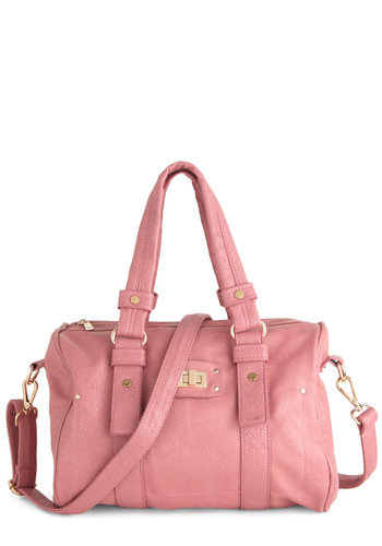 Practical in Pink Bag - Pink, Solid, Casual, Buckles, Pastel, Faux Leather