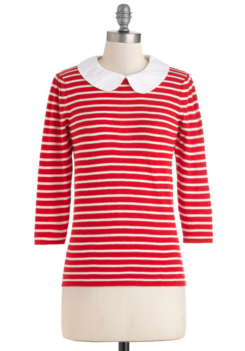 Charmer on Campus Top in Red - Red, White, Stripes, Peter Pan Collar, Mid-length, Cotton, Work, Casual, Scholastic/Collegiate, Collared