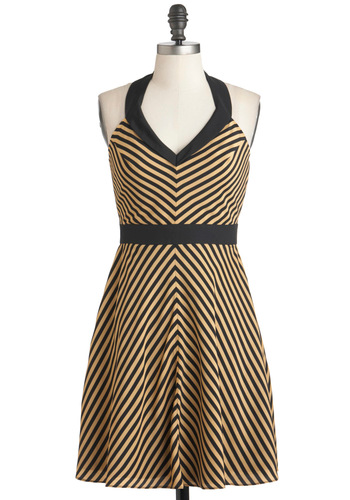 Nautical Nuptials Dress - Tan / Cream, Black, Stripes, Casual, A-line, Halter, Mid-length, V Neck, Chevron