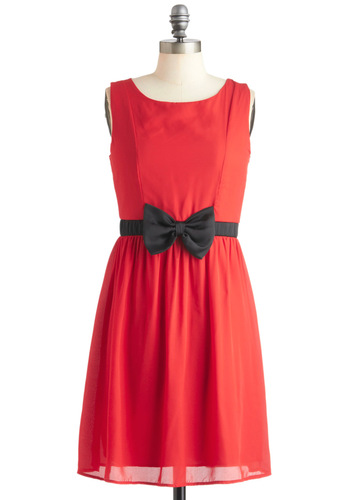 Gift My Spirits Dress - Red, Black, Solid, Bows, Party, Vintage Inspired, A-line, Sleeveless, Mid-length, Cocktail