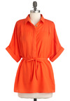 Whistle a Happy Tunic - Orange, Solid, Casual, Short Sleeves, Belted, Sheer, Long, Work, Button Down, Collared