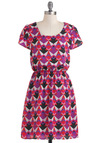That's a Fractal Dress - Mid-length, Purple, Red, Pink, Black, White, Print, Casual, A-line, Short Sleeves