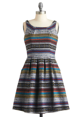 Neighborhood Fair Dress in Bloomfield - Mid-length, Multi, Red, Yellow, Blue, Purple, Black, Grey, Print, Exposed zipper, Pockets, Casual, A-line, Sleeveless, Fall, Cotton, Fit & Flare, Summer