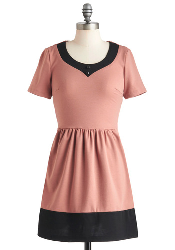 Mauve-y Night Dress - Black, Buttons, Casual, A-line, Short Sleeves, Jersey, Cotton, Short, Pink, Colorblocking