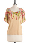 Get the Hang of It Top - Tan, Green, Blue, Pink, Floral, Casual, Short Sleeves, Sheer, Mid-length, Jersey