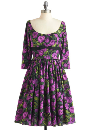 Tulip Tea Party Dress by Bernie Dexter - Long, Purple, Green, Black, Floral, Bows, Party, A-line, 3/4 Sleeve, Vintage Inspired, 50s, Cotton, Fit & Flare, Scoop