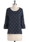 Library Browsing Top - Blue, Red, Buttons, Work, Casual, Long Sleeve, Mid-length, Print