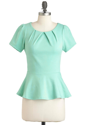 Teach for the Sky Top - Solid, Party, Work, Peplum, Short Sleeves, Mid-length, Mint, Cotton, Spring, Green, Short Sleeve, Pastel