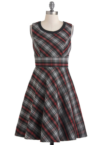 Work or Playful Dress - Multi, Plaid, Work, Casual, Vintage Inspired, Scholastic/Collegiate, A-line, Sleeveless, Fall, Mid-length