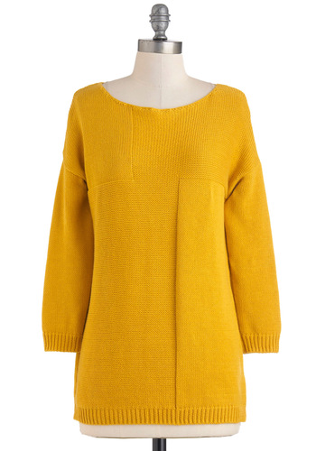 Saffron to Something Sweater - Yellow, Solid, Casual, 70s, Long Sleeve, Knitted, Vintage Inspired, Mid-length, Minimal