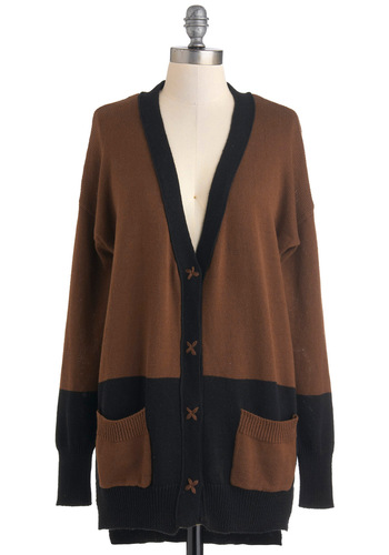 Take the Espresso Train Cardigan - Black, Long Sleeve, Brown, Pockets, Casual, Fall, Scholastic/Collegiate, Button Down, Colorblocking, V Neck