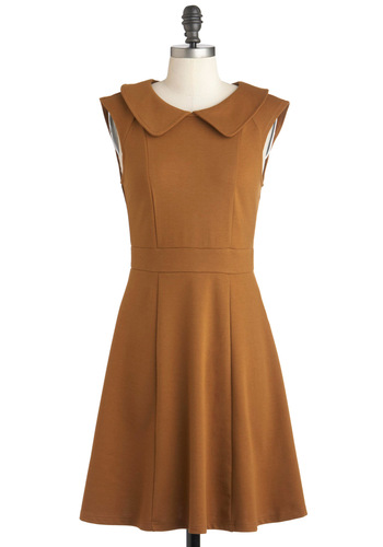 Foxtail & Fern Dress - Solid, Peter Pan Collar, Work, Casual, Vintage Inspired, A-line, Sleeveless, Mid-length, Brown, Exposed zipper, Scholastic/Collegiate, Cotton, Variation