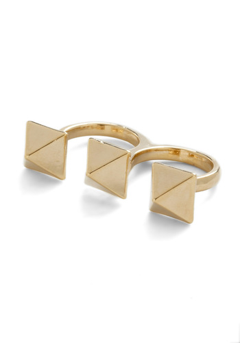 Pyramid Thought Ring - Gold, Studs, Urban