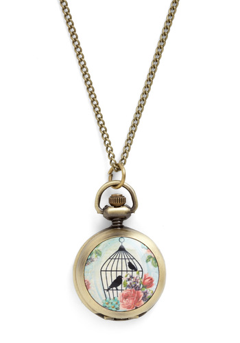 Tweet-er Times Necklace - Multi, Print with Animals, Vintage Inspired, Fairytale, Daytime Party