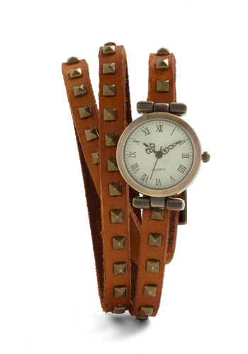 Stud-y Abroad Watch in Cognac - Tan, Solid, Studs, Vintage Inspired, Steampunk, Leather, Tis the Season Sale
