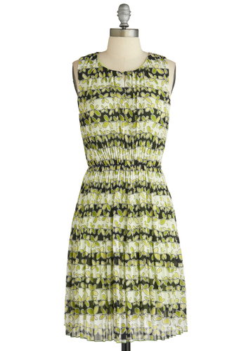 Indoor Herb Garden Dress - Mid-length, White, Pleats, Party, A-line, Sleeveless, Green, Black, Floral