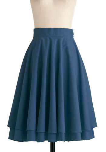 Effortless is More Skirt in Blue - Work, Vintage Inspired, Blue, Solid, Tiered, A-line, Long, Exclusives, Holiday Sale, Fit & Flare, Variation