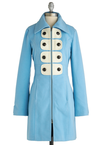 Not a Cloud in Sight Coat by Tulle Clothing - 3, Blue, White, Buttons, Pockets, Casual, Vintage Inspired, 60s, Long, Solid, Long Sleeve, Winter, Pastel, Mod