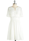 Well-to-Dew Dress - Sheer, Mid-length, White, Solid, Beads, Lace, Daytime Party, A-line, Short Sleeves, Sequins, Variation, Wedding, Spring, Graduation, Bride, Exclusives