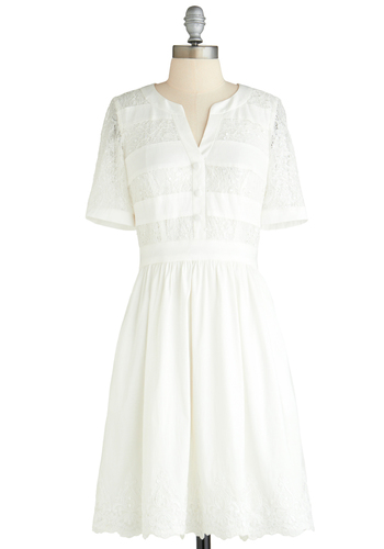 Well-to-Dew Dress - Sheer, Mid-length, White, Solid, Beads, Lace, Daytime Party, A-line, Short Sleeves, Sequins, Variation, Wedding, Spring, Graduation, Bride