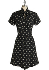 Daisies Go By Dress by Tulle Clothing - Mid-length, Black, Yellow, White, Floral, Tie Neck, A-line, Short Sleeves, Casual, Work, Exclusives