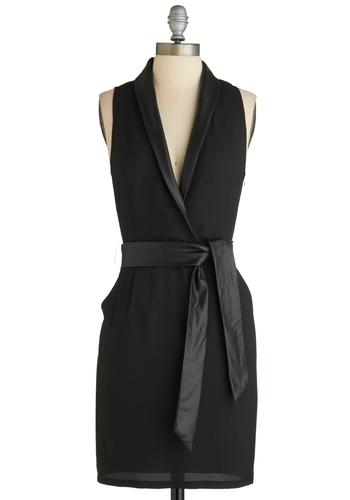 Urbanite to Remember Dress - Mid-length, Faux Leather, Black, Solid, Pockets, Belted, Party, Sheath / Shift, Sleeveless, V Neck