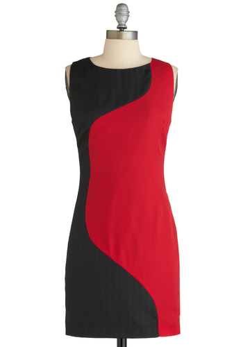 Turning Lane Dress - Mid-length, Black, Shift, Sleeveless, Fall, Red, Girls Night Out, Exclusives, Colorblocking