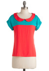 Pick a Flavor Top - Mid-length, Casual, Blue, Peter Pan Collar, Short Sleeves, Neon, Jersey, Collared, Colorblocking, Multi, Coral, Coral