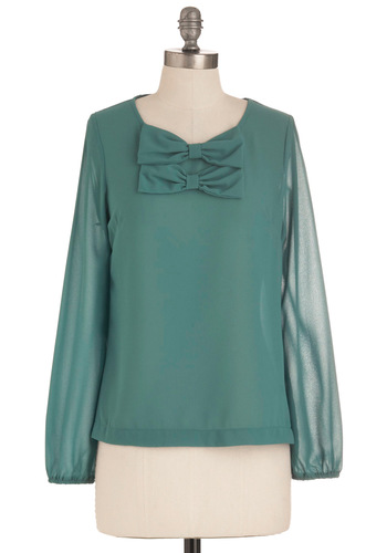 Parlor Anglais Top - Mid-length, Green, Solid, Bows, Work, Long Sleeve, Sheer, French / Victorian