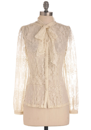 Coffee and Cream Top - Mid-length, Cream, Buttons, Lace, Long Sleeve, Tie Neck, Work, French / Victorian, Sheer, Button Down