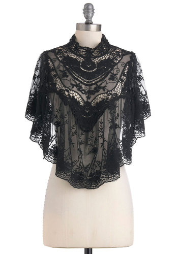 Photographic Flashback Cape - Black, Floral, Flower, Lace, Formal, Wedding, Party, Vintage Inspired, Short, Cocktail, Holiday Party, Sheer, Variation