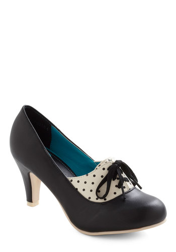 I Feel Like Dancing Heel - Black, White, Polka Dots, 20s, 30s, Lace Up, Party, Mid, Faux Leather